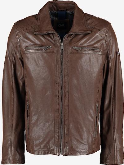 DNR Jackets Herren Lederjacke mit Taschen und Reißverschluss in braun, Produktansicht