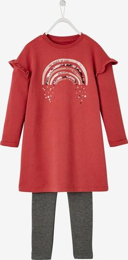 VERTBAUDET Set Kleid und Leggings in graumeliert / rot, Produktansicht