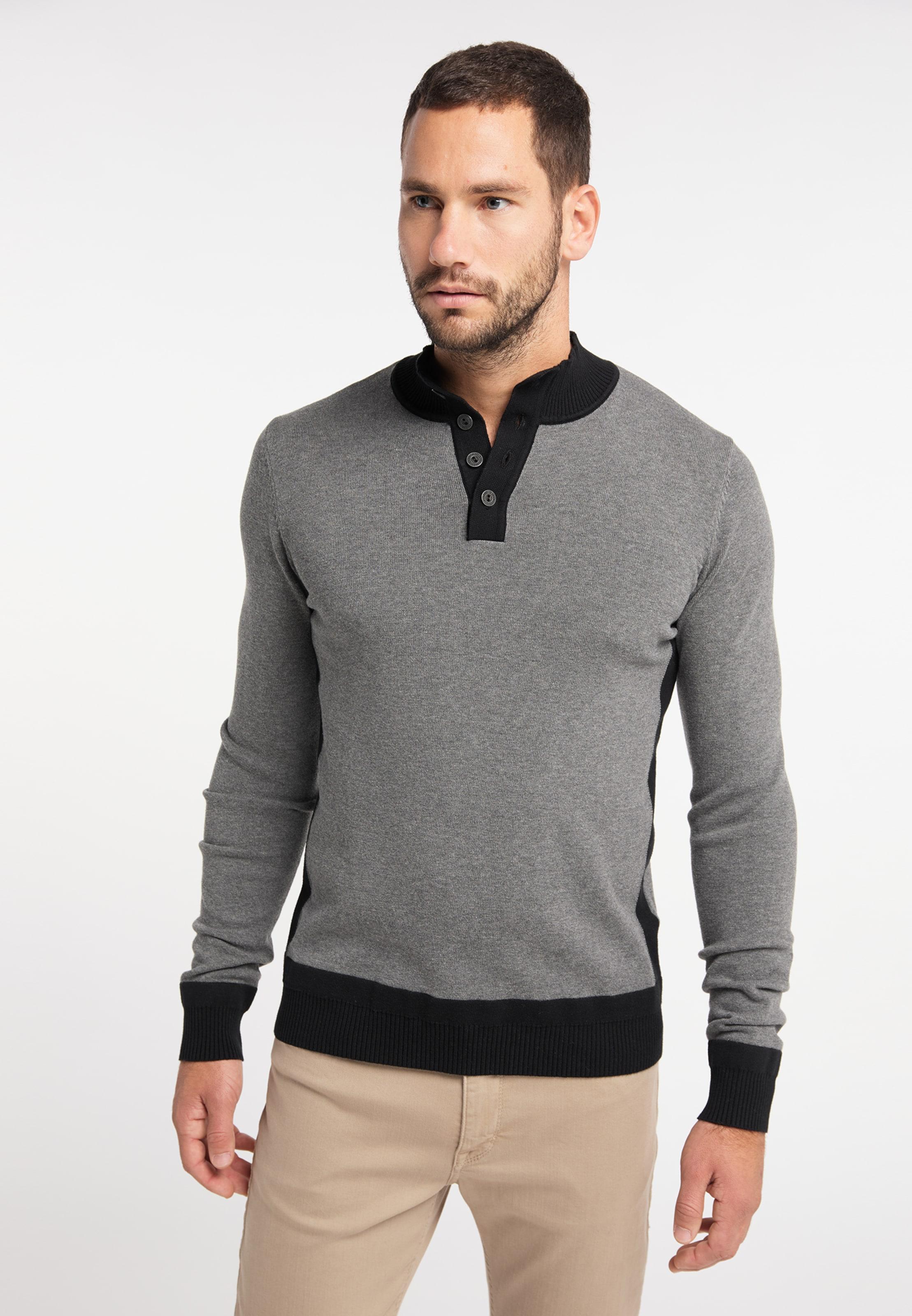 DREIMASTER Pullover in grau / schwarz Baumwolle 4063523058350