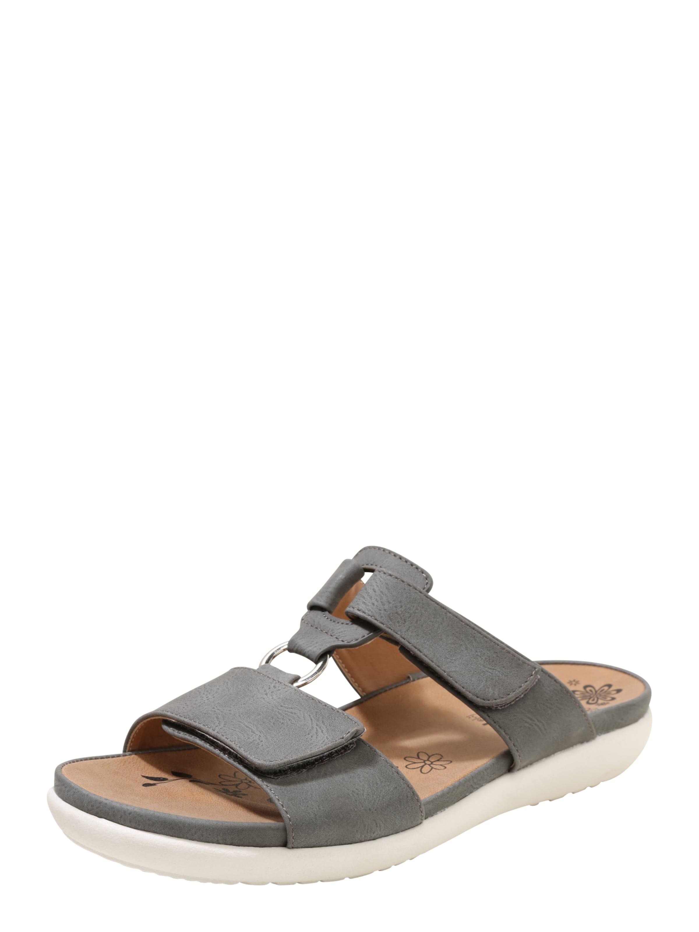 RIEKER Pantolette mit Klettverschluss Verschleißfeste billige Schuhe