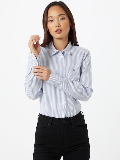 TOMMY HILFIGER Blouse 'Sally' in de kleur Pastelblauw / Wit, Modelweergave