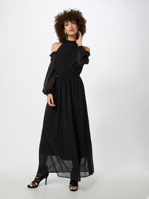 Na 'cold En Maxi Robe Dress' Noir Chiffon Shoulder kd 1lTKcFJ