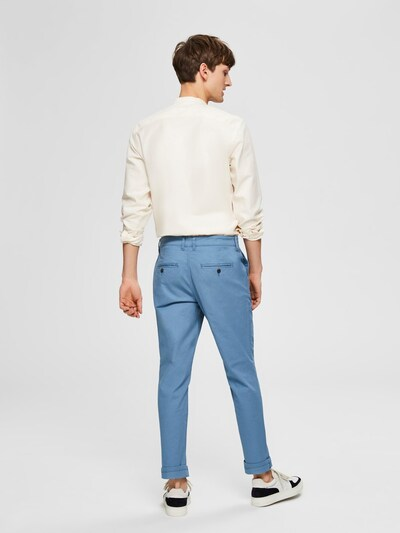SELECTED HOMME Chino 'Slhparis' in taubenblau: Frontalansicht
