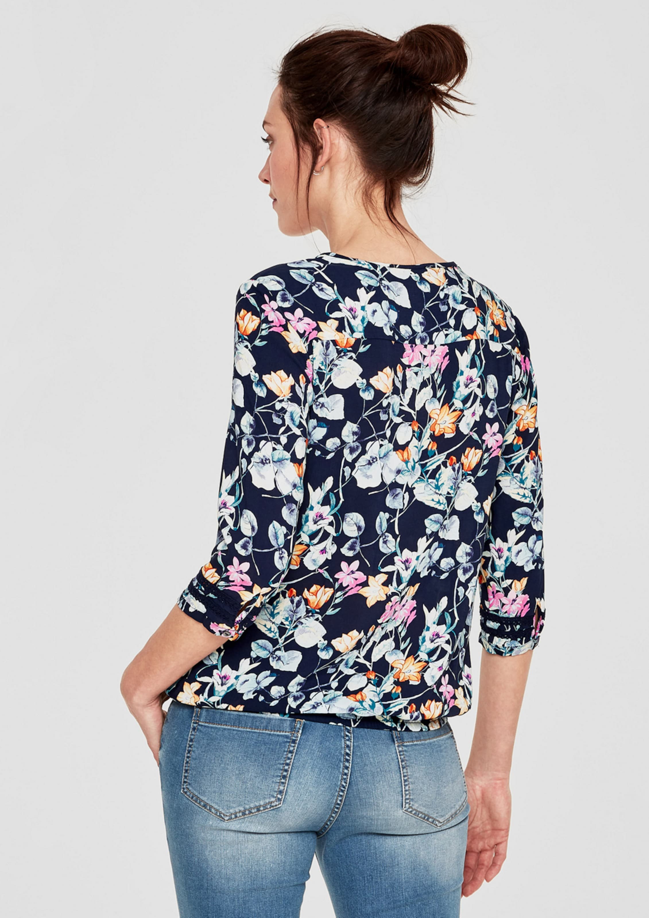 Ausverkaufspreise s.Oliver RED LABEL O-Shape-Bluse mit floralem Print Günstig Kaufen Original Klassisch Super Angebote xQHs0R