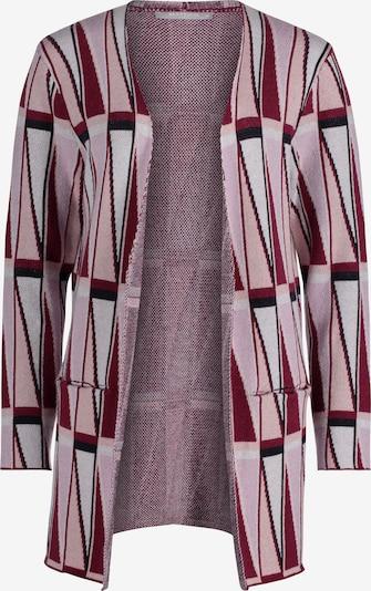 Betty & Co Gebreid vest in de kleur Wijnrood / Wit, Productweergave