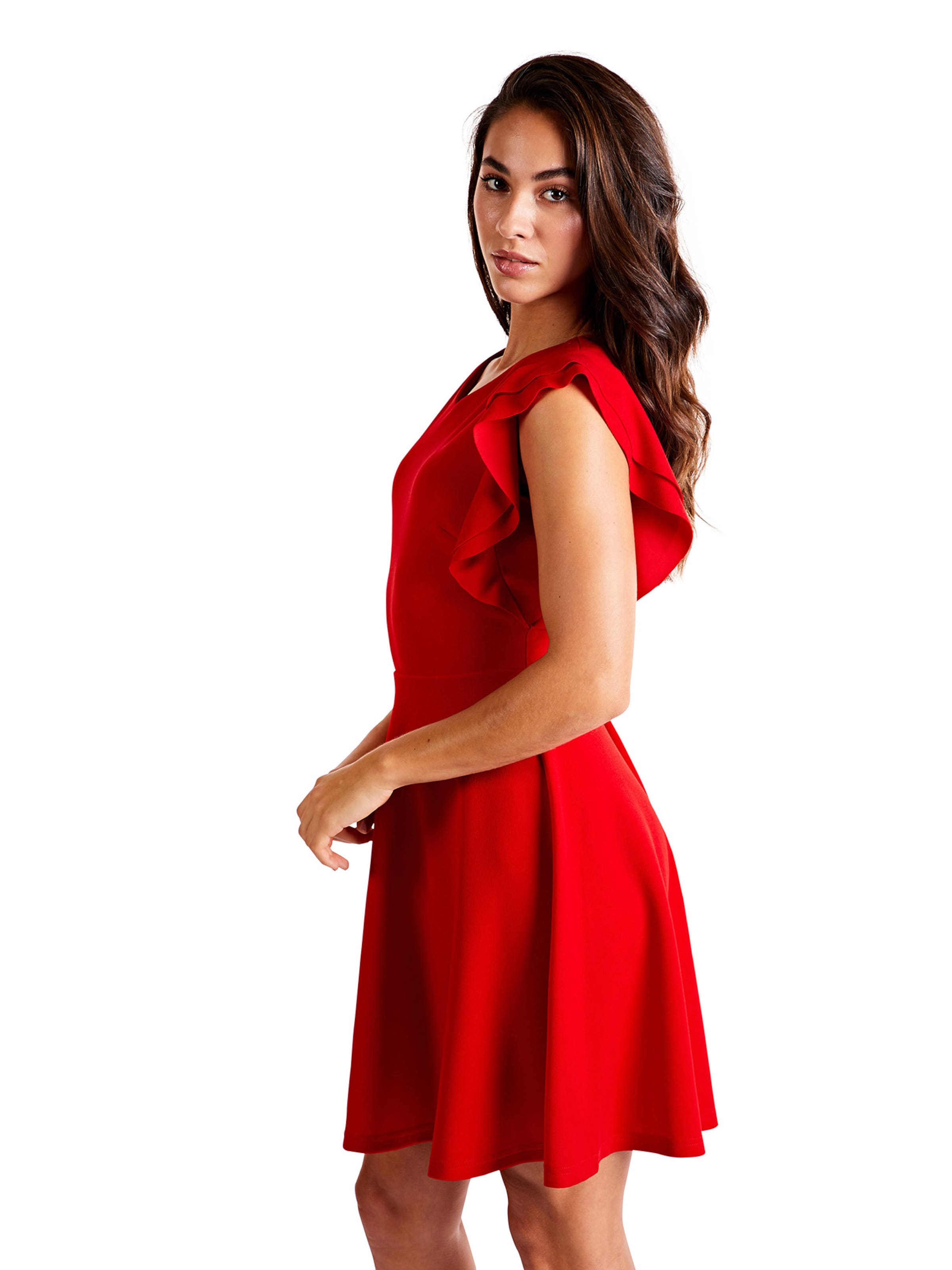 Ruffle Kleider Dress' V In London Rot Mela 'side Neck KlcF1J