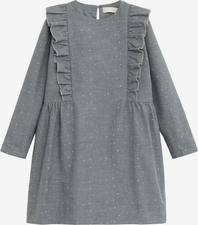 MANGO KIDS Kleid 'Alicia' in rauchgrau / weiß: Frontalansicht