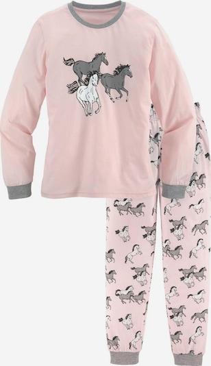 PETITE FLEUR Pyjama in grau / rosa / schwarz / weiß, Produktansicht