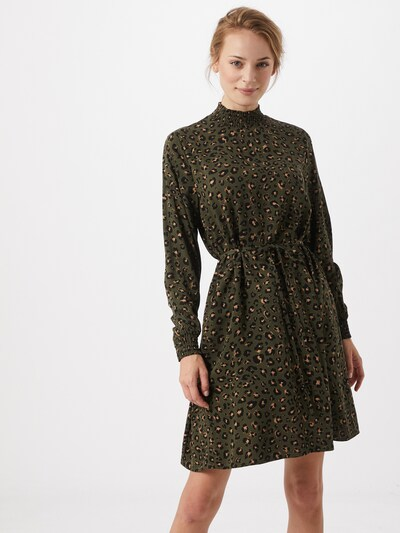 VILA Kleid 'Vidania' in dunkelgrün / apricot / schwarz, Modelansicht