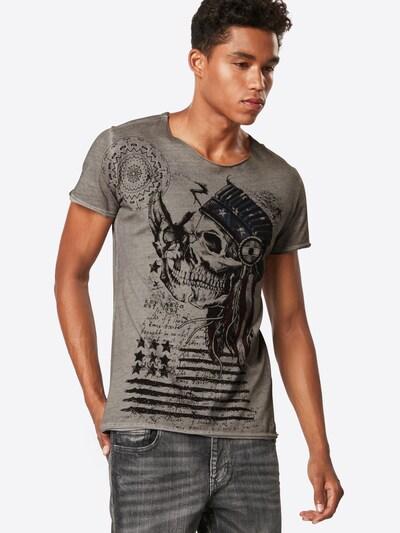 Key Largo T-Shirt 'MT INDIAN SKULL round' in silbergrau: Frontalansicht