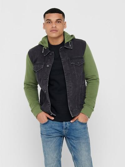 Only & Sons Jacke in grün / black denim, Modelansicht