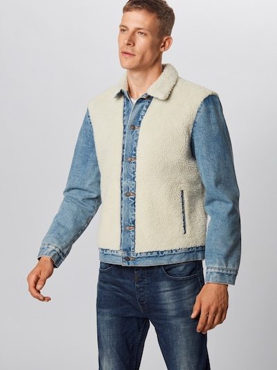 LEVI'S Ceļotāju jaka 'SHERPA PANEL TRUCKER' pieejami bēšs / zils džinss: Priekšējais skats