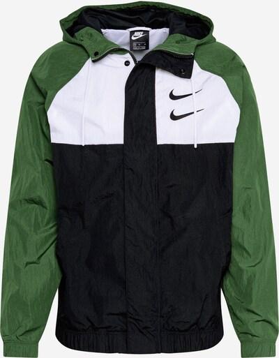 Nike Sportswear Ceļotāju jaka 'SWOOSH' zaļš / melns / balts, Preces skats