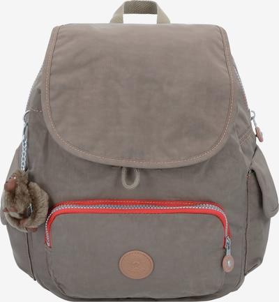 KIPLING Basic City Pack S 18 Rucksack 33,5 cm in hellbeige / dunkelbeige / rot: Frontalansicht