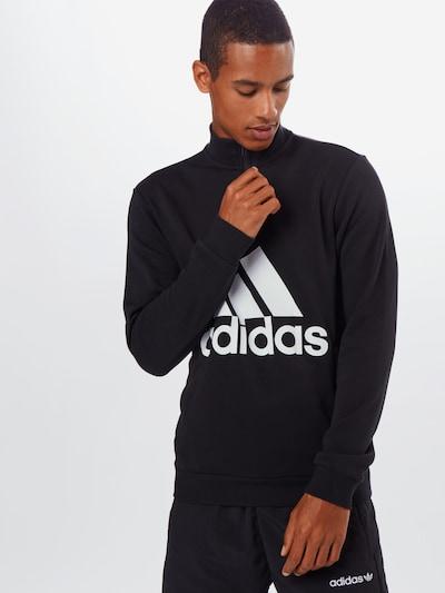 ADIDAS PERFORMANCE Sweatshirt 'M MH BOS 1/4 FT' in schwarz / weiß: Frontalansicht