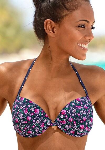 BUFFALO Push Up-Bikinitop 'Evi' in navy / grasgrün / pink / weiß, Modelansicht