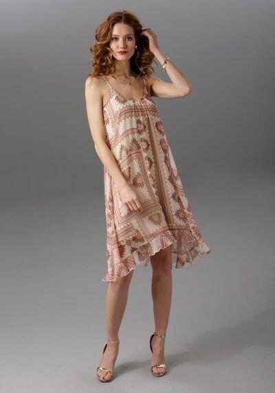 Aniston CASUAL Sommerkleid in braun / koralle / wollweiß, Modelansicht