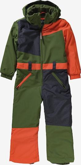 PROTEST Schneeanzug in dunkelblau / grün / orange, Produktansicht