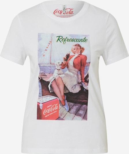 ONLY T-Shirt 'ONLCOKE REG S/S RETRO TOP BOX CO JRS' in rot / weiß, Produktansicht