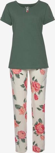 VIVANCE Pyjama in khaki / mischfarben / weiß, Produktansicht