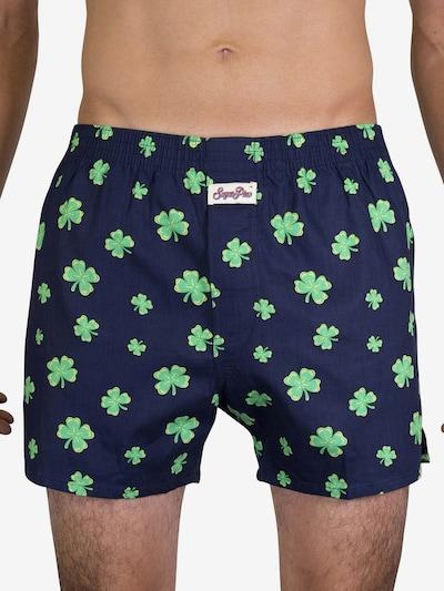 Sugar Pine Boxers ' Lucky Charm ' en bleu foncé / vert fluo, Vue avec modèle