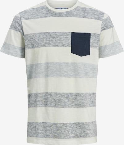 JACK & JONES T-Shirt in blaumeliert / weiß: Frontalansicht