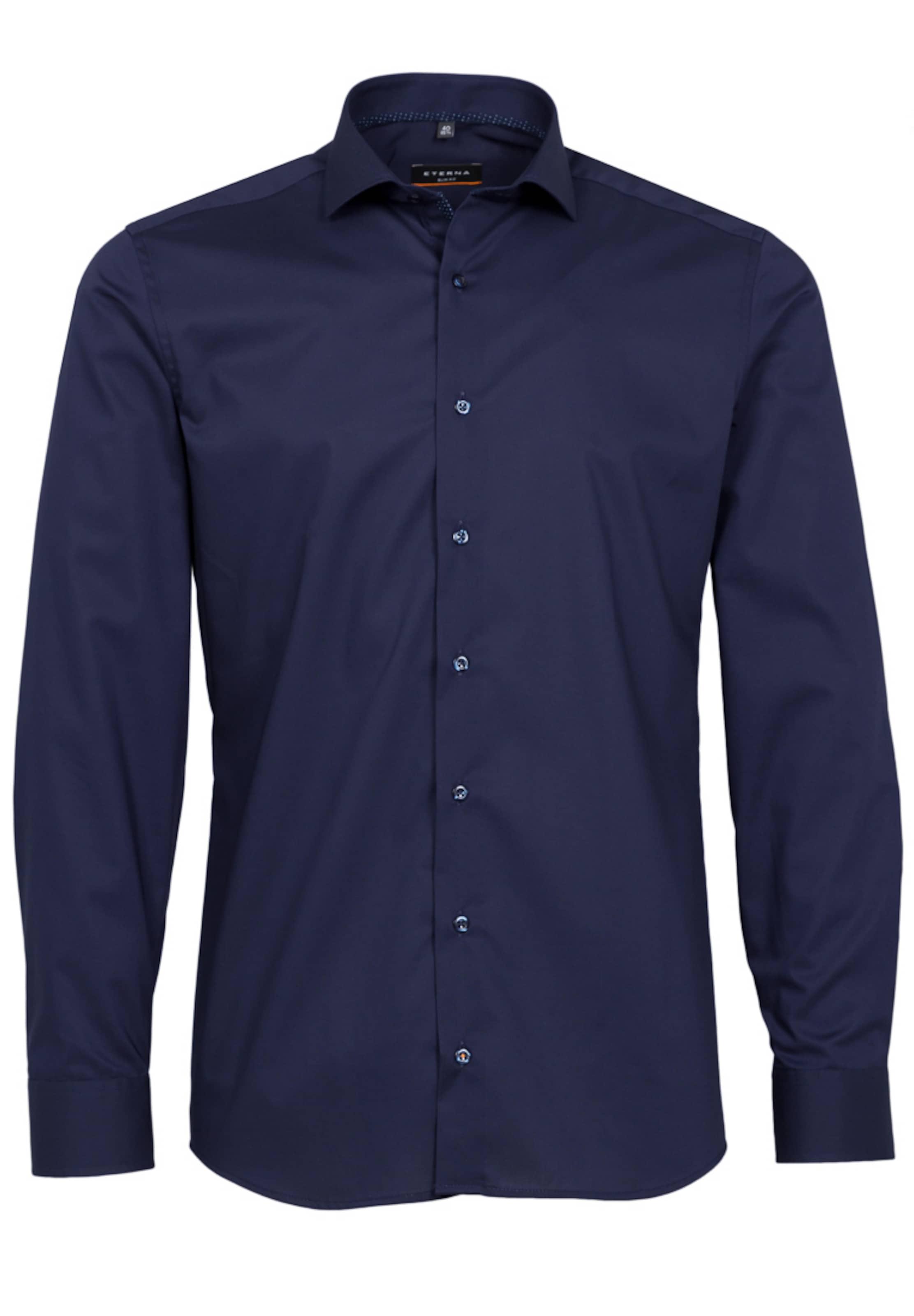 Eterna Langarm Fit Slim Blau Hemd In FK1JTlc3