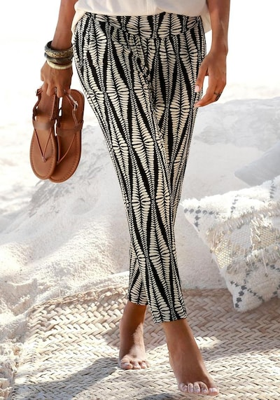 LASCANA Pantalon en sable / noir, Vue avec modèle