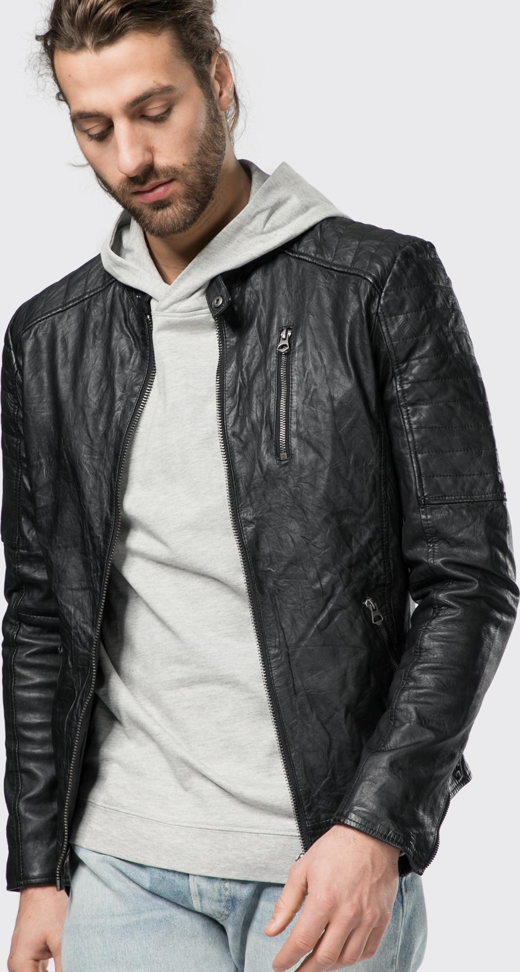 jack jones lederjacke 39 jjvrichard lamb leather jacket noos 39 in schwarz about you. Black Bedroom Furniture Sets. Home Design Ideas