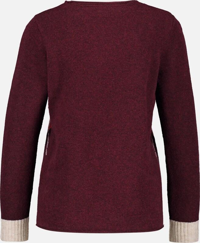GERRY WEBER Pullover Pullover Pullover in rot   dunkelrot   weiß  Freizeit, schlank, schlank 58c43e