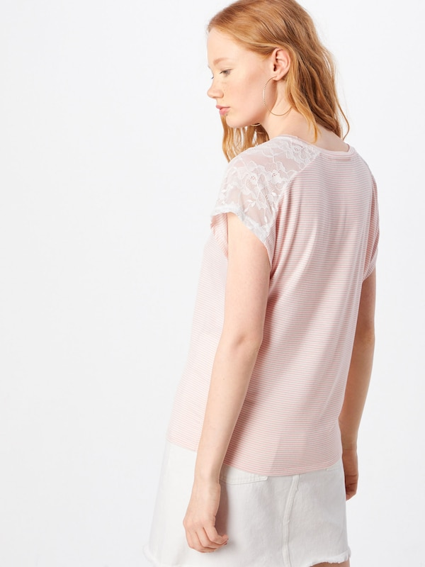 ONLY Shirt 'ONLADELAIDE S/S LACE TOP JRS' in rosé / weiß: Rückansicht