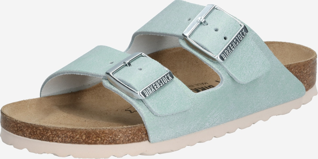 BIRKENSTOCK Pantolette 'Arizona Washed Metallic' in gold / silber, Produktansicht