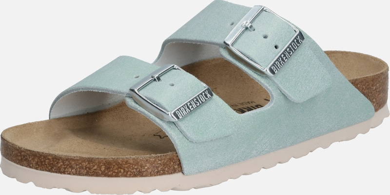 BIRKENSTOCK Pantolette 'Arizona Washed Metallic' in gold / silber: Frontalansicht