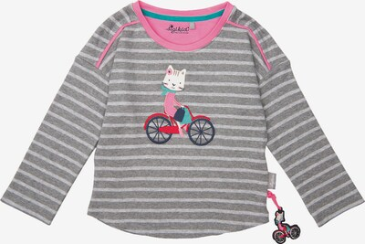 SIGIKID Langarmshirt in hellgrau / dunkelgrau / pink: Frontalansicht