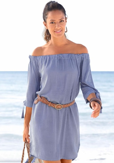 LASCANA Strandkleid in blau / weiß, Modelansicht