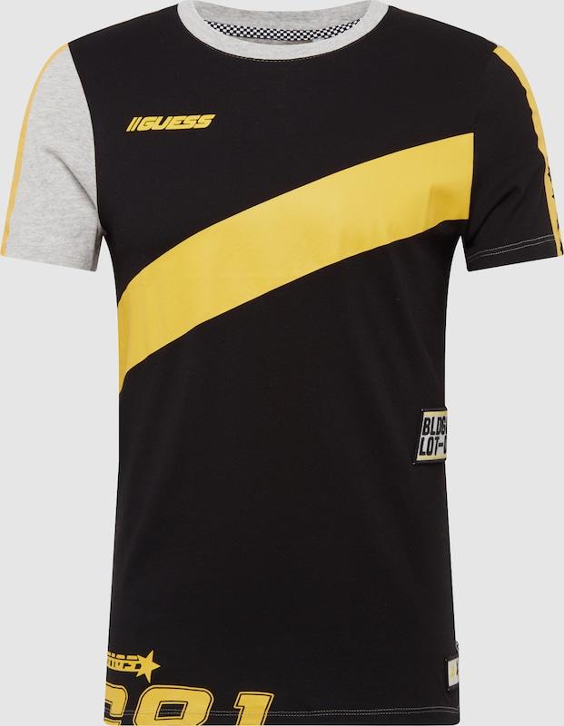 GUESS Shirt 'CN SQUAD' in gelb   schwarz   weiß  Großer Rabatt