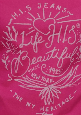 H.I.S Shirt in Pink / Wit