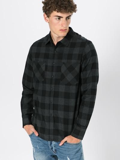 Urban Classics Overhemd 'Checked Flanell' in de kleur Antraciet / Zwart, Modelweergave