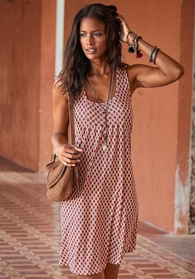 LASCANA Strandkleid in dunkelbeige / karminrot, Modelansicht