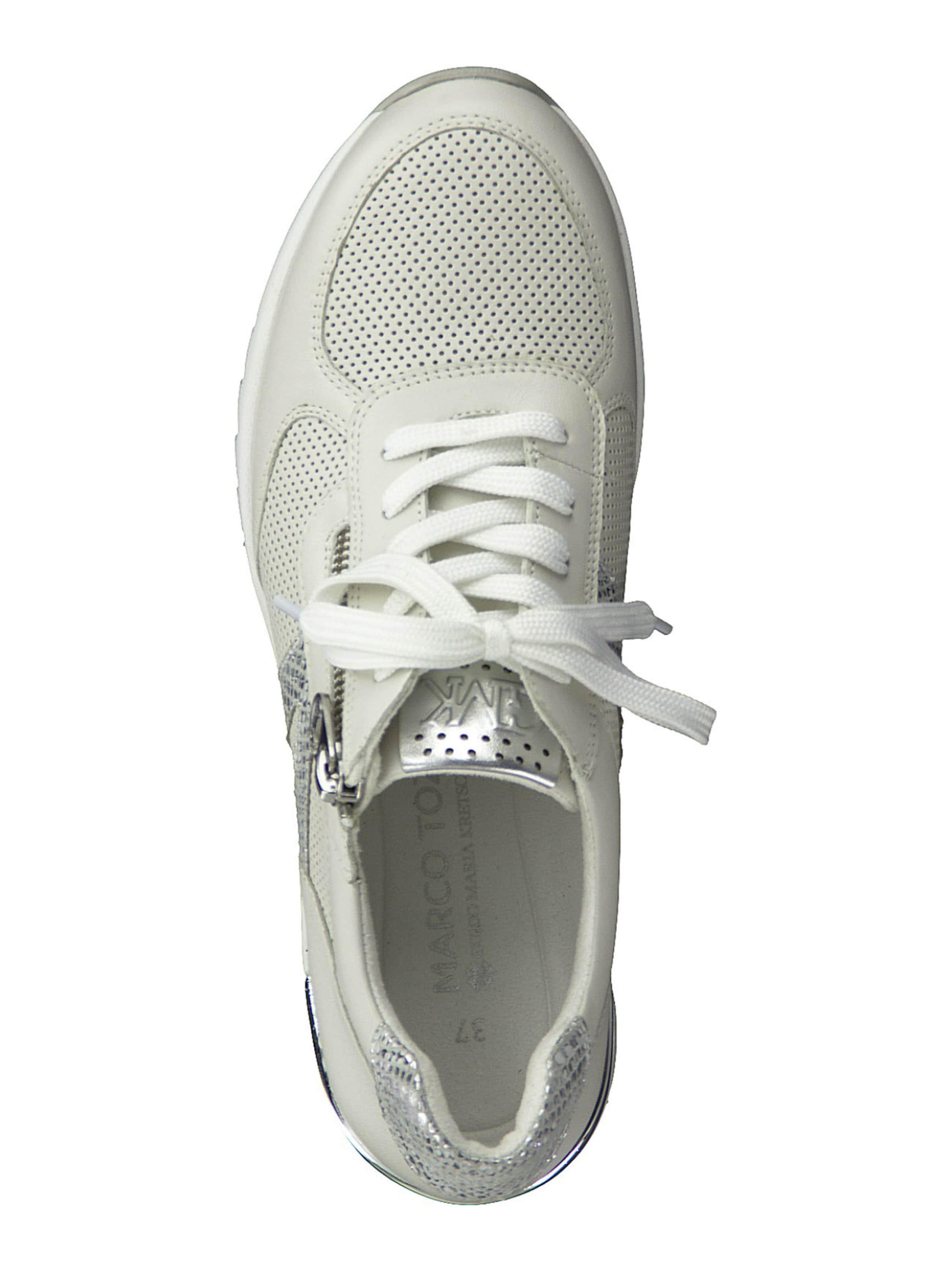 MARCO TOZZI by GUIDO MARIA KRETSCHMER Rövid szárú edzőcipők ezüst / fehér színben