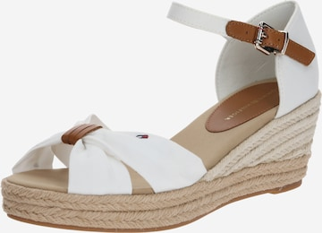 Sandale 'BASIC OPEN TOE MID WEDGE' de la TOMMY HILFIGER pe alb