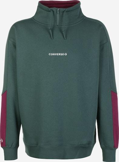 CONVERSE Sweater ' Centerfront Wordmark ' in dunkelgrün / rotviolett, Produktansicht