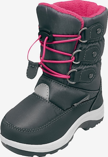 PLAYSHOES Winterstiefel in grey denim / neonpink / weiß, Produktansicht