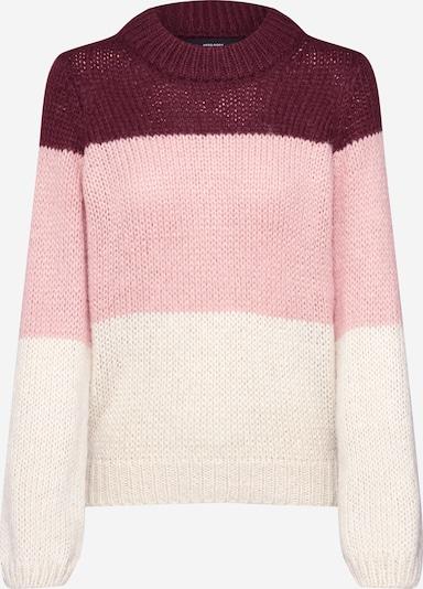 VERO MODA Pullover 'WINE' in creme / rosé / weinrot, Produktansicht