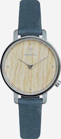 Kerbholz Armbanduhr 'Emma' in beigemeliert / blau / silber, Produktansicht
