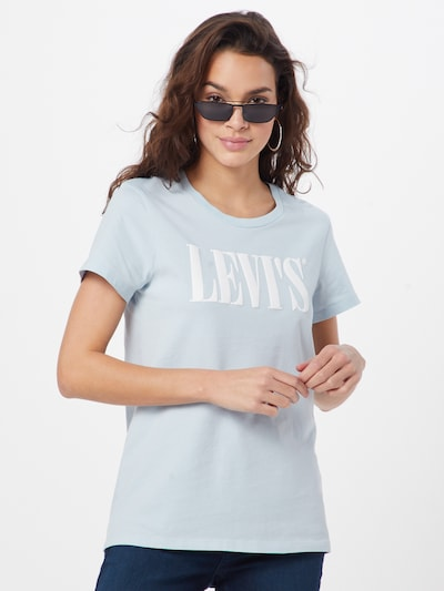 LEVI'S Shirt 'THE PERFECT TEE' in de kleur Lichtblauw / Wit: Vooraanzicht
