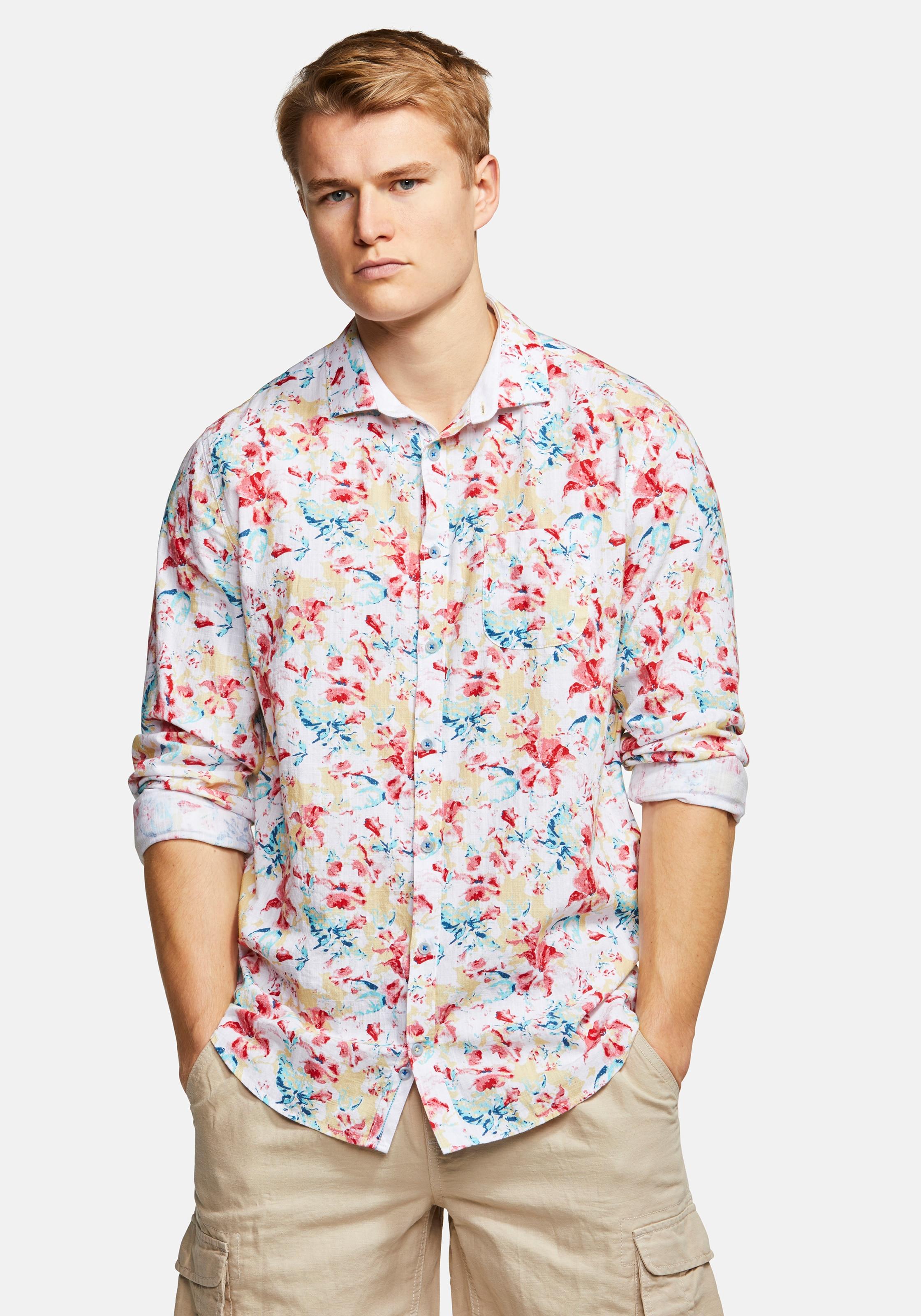 COLOURS & SONS Langarmhemd 'HAROLD' in mischfarben Baumwolle ART125383-002