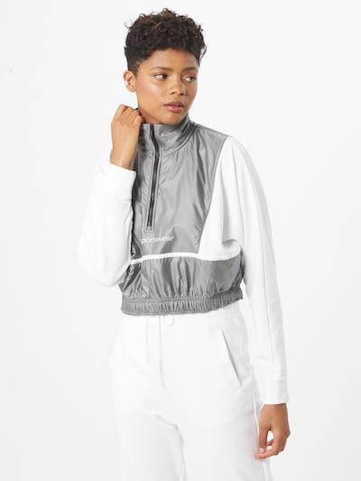 Nike Sportswear Tepláková bunda 'ARCHIVE RMX' - striebornosivá / biela: Pohľad spredu