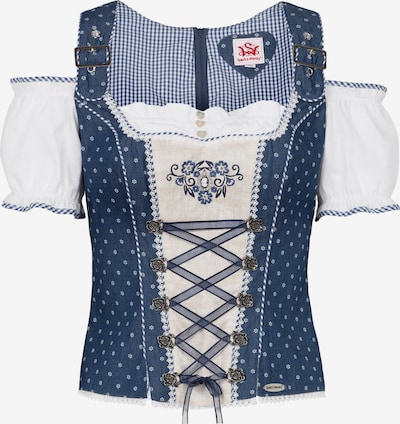 SPIETH & WENSKY Carmenbluse 'Frankfurt' in blau / weiß, Produktansicht