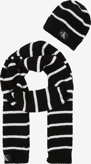 Calvin Klein Schal und Mütze 'J KNIT' in schwarz / weiß, Produktansicht
